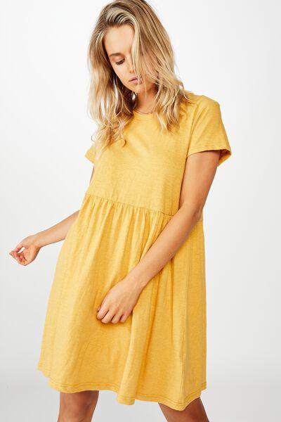 Tina Babydoll Tshirt Dress, BRIGHT GOLD MARLE