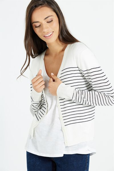 Cutesey 2 Button Through Cardi, LIGHT GREY MARLE