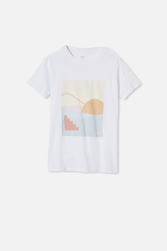 Classic Arts T Shirt, ABSTRACT LANDSCAPE/WHITE
