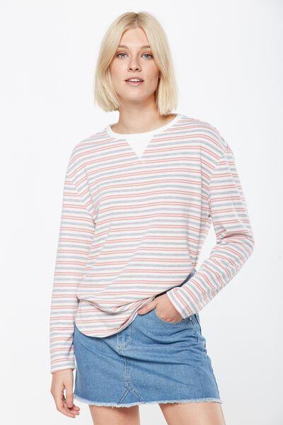 Gomez Light Weight Sweater, LIZ STRIPE GARDENIA/GREY MARLE / PINK BLOSSOM