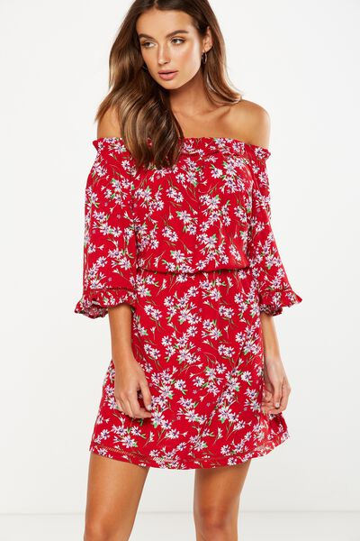 Woven Rosie Off The Shoulder Mini Dress, ELLA SPLICED FORAL CHERRY RED