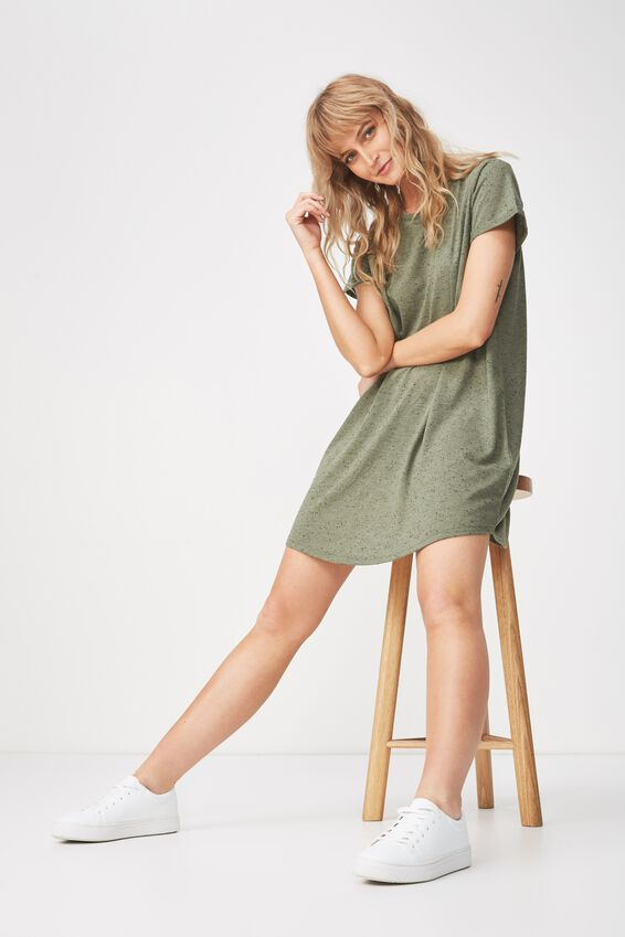 Tina Tshirt Dress 2, KHAKI/BLACK FLECK
