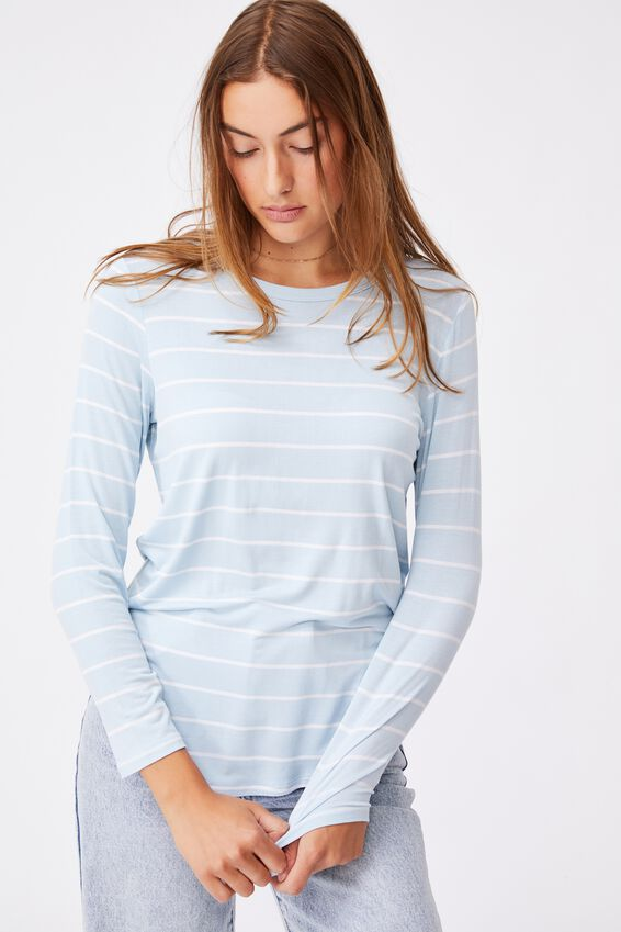 Kathleen Long Sleeve Top, ANGEL STRIPE DAISY BLUE/WHITE