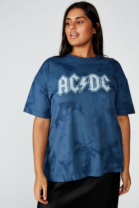 Curve Oversized Graphic License Tee, LCN PER ACDC MOOD INDIGO/TIE DYE