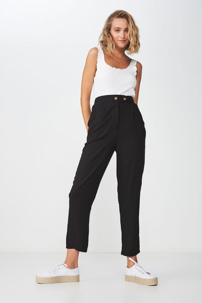 Amy Tapered Pant, BLACK