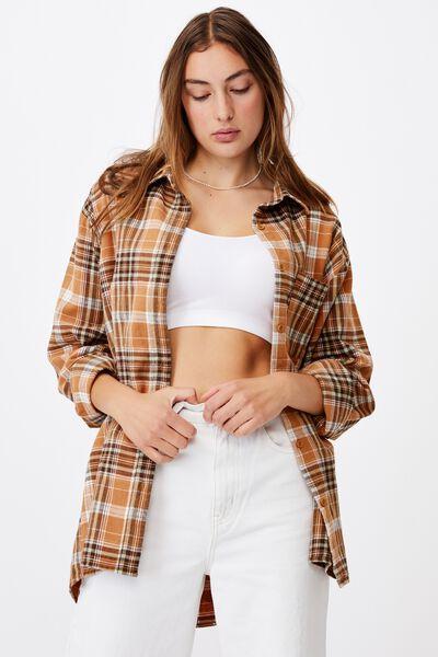 Boyfriend Shirt, JENNIFER CHECK CASHEW