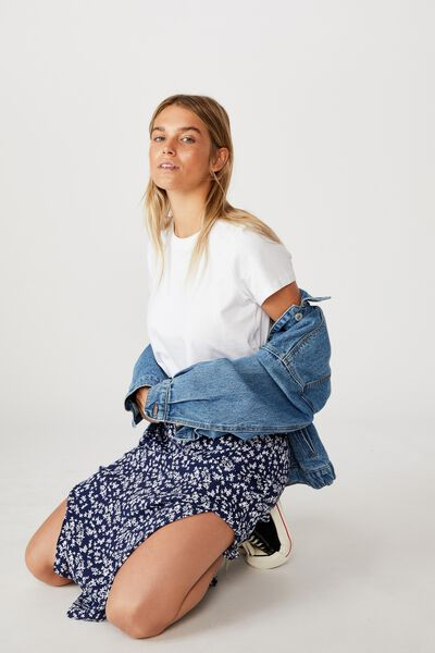 90S Slip Skirt, CORA DITSY MEDIEVAL BLUE