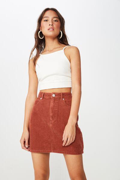 Woven Havana Cord Mini Skirt, ARABAIN SPICE
