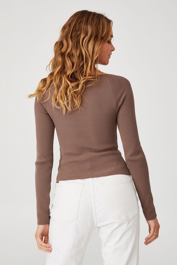 Ribbed Fashion Detail Long Sleeve, BROWNSTONE