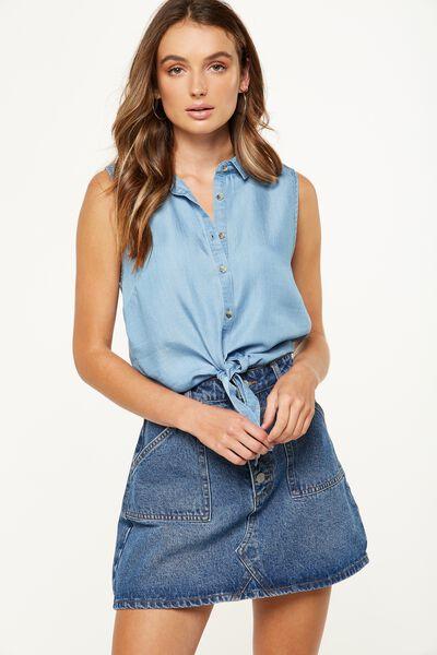 Belle Sleeveless Shirt, LYOCELL