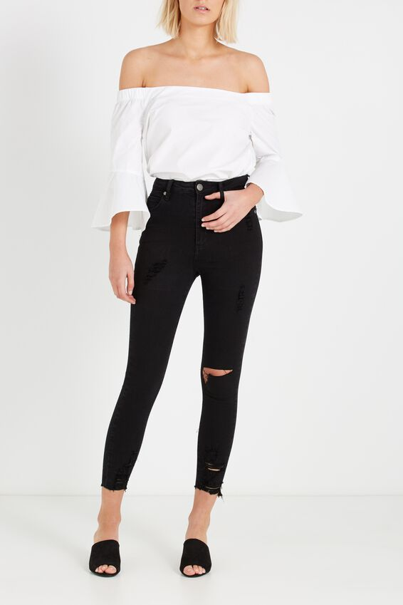 High Rise Grazer Skinny Jean, BLACK BUSTED RIPS