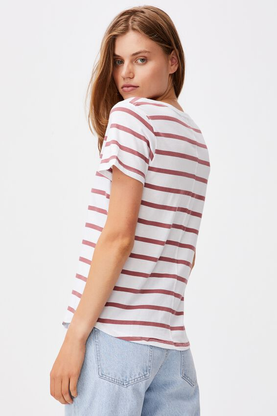 The One Fitted V Tee, DANNY STRIPE WHITE/MALAGA