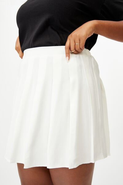Curve Tia Pleated Mini Skirt, WHITE