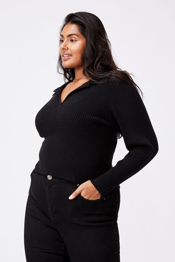 Curve Long Sleeve Rib Knit Polo Top, BLACK