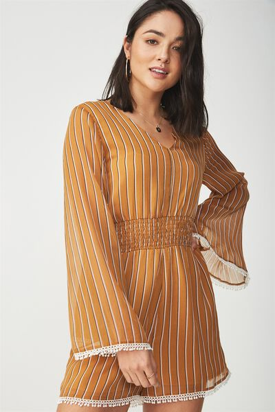 Woven Laurie Long Sleeve V Neck Playsuit, LENA STRIPE ROASTED PECAN VERTICAL