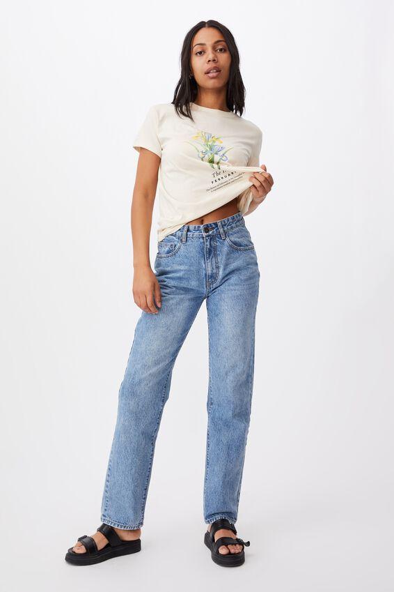 Classic Birthday Flower Graphic T Shirt, FEBRUARY BIRTHFLOWER/WHITE SAND