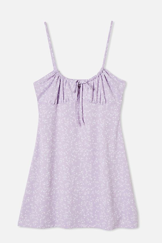 Tinsley Tie Front Mini Dress, SERENA DITSY FROSTY LILAC