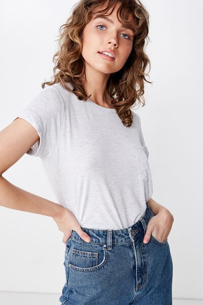 Kathleen Short Sleeve Top, SILVER MARLE
