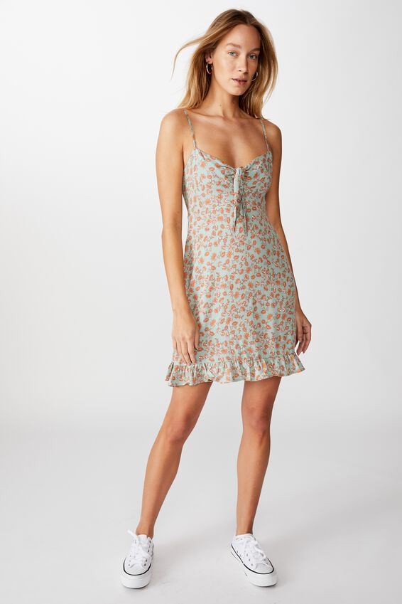 Woven Kiara Tie Front Mini Dress, RACHAEL FLORAL JADIETTE