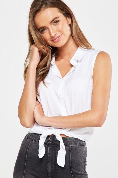 Belle Sleeveless Shirt, WHITE