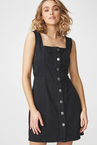 Denim Pinafore Dress, BLACK WASH BUTTON THROUGH