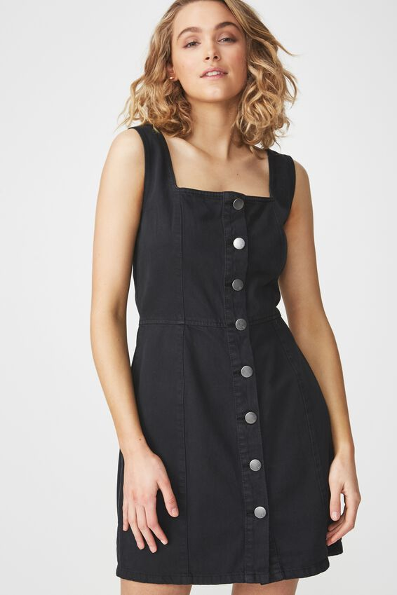 Denim Pinafore Dress, BLACK WASH BUTTON THROUGH