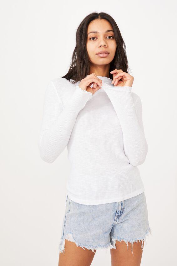 Leona Lettuce Long Sleeve Top, WHITE