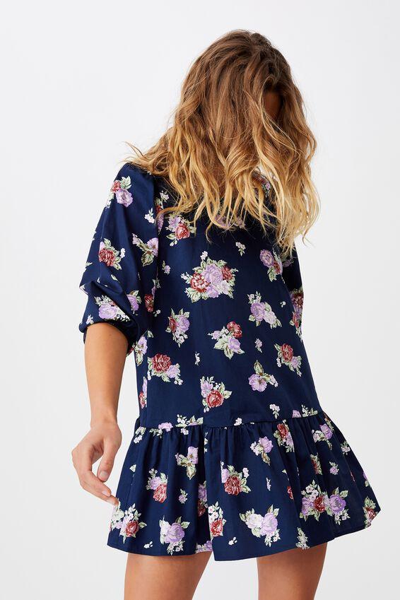 Woven Joselyn Long Sleeve Smock Mini Dress - Petit, KIRSTY ROSE MEDIEVAL BLUE