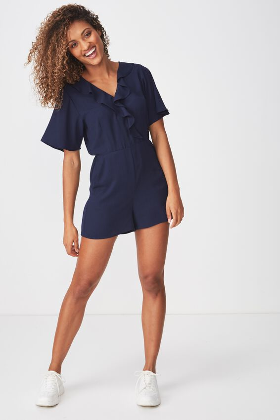 Woven Kennedy Frill Playsuit, MOONLIGHT