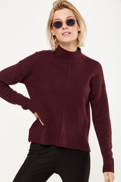 Renee Curved Hem Luxe Pullover, KNITWEAR PLUM