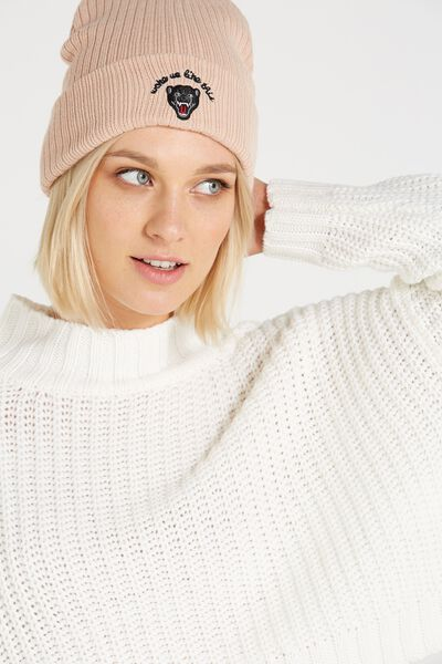 Baroque Embroidered Beanie, WASHED PINK