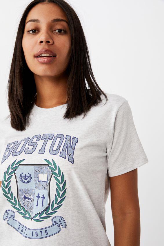 Classic Slogan T Shirt Silver Marle, BOSTON/SILVER MARLE