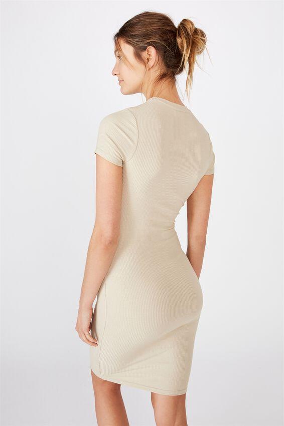 Essential Short Sleeve Midi Dress, SILVER LINING RIB