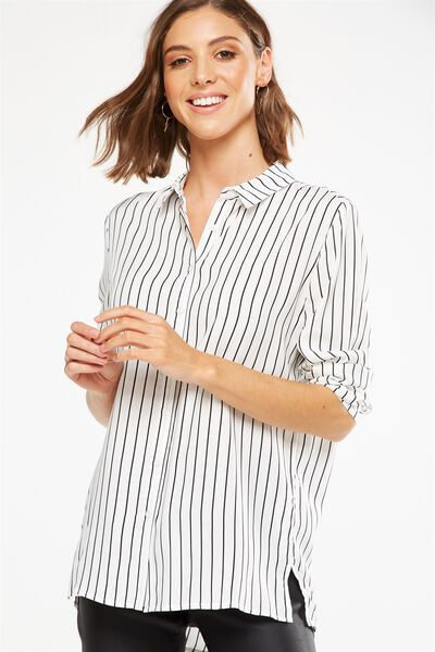 Rebecca Shirt, PADDINGTON STRIPE WHITE/BLACK