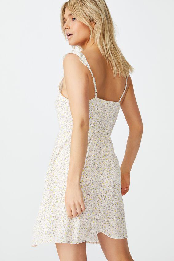 Woven Quinn Ruffle Strap Mini Dress, ROBYN DITSY WHITE