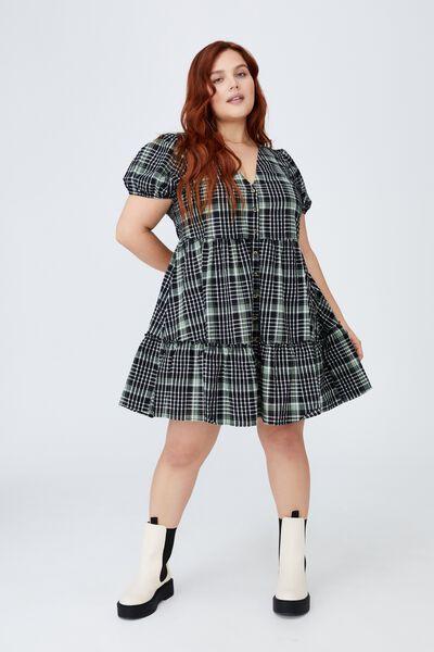 Curve Woven Tessa Babydoll Mini Dress, STEPH CHECK PISTACHIO GREEN