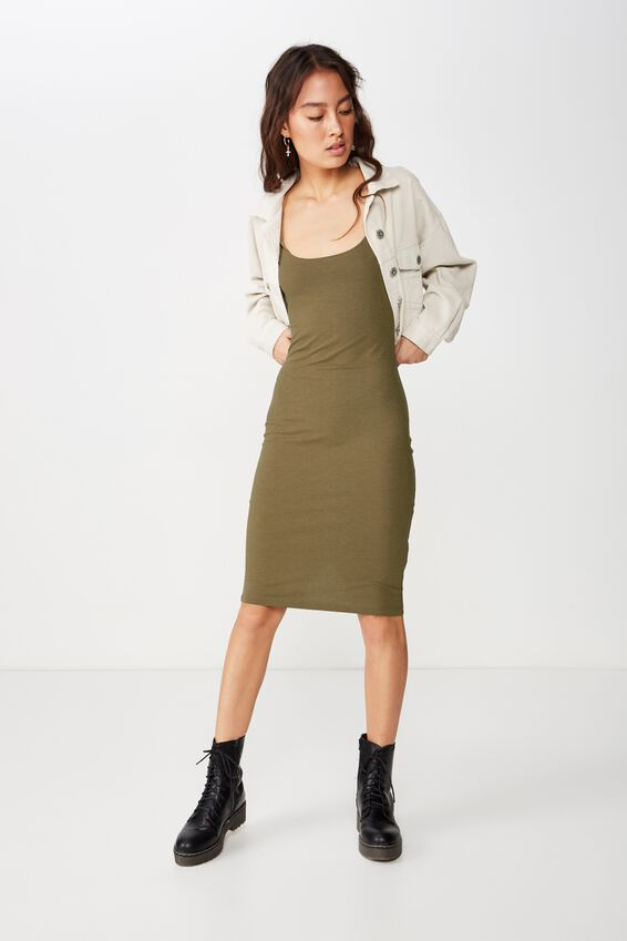 Kimi Scooped Bodycon Midi Dress, BURNT OLIVE MARLE
