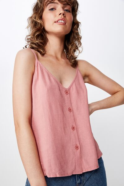 Amy V Neck Cami With Buttons, DUSTY ROSE
