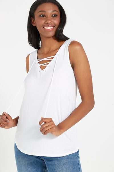 Lexi Lace Up Tank, WHITE