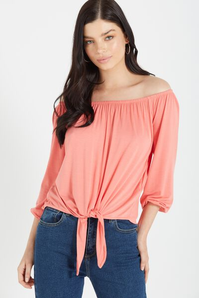 Avery Off The Shoulder Top, STARFISH ORANGE