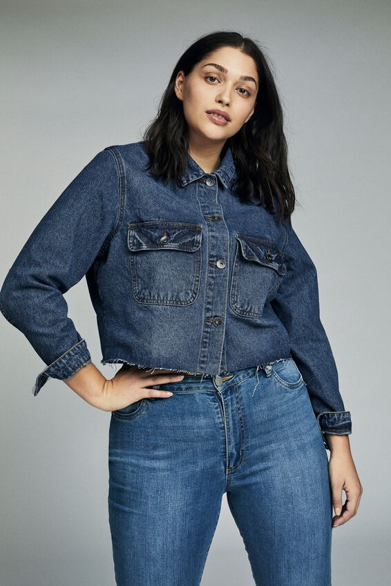 Curve Girlfriend Denim Jacket, DARK BLUE