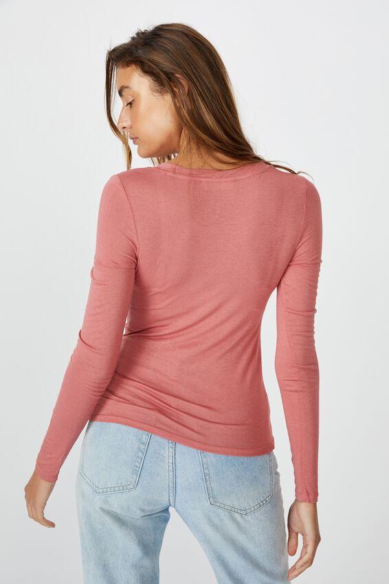 Sheer Vintage Scoop Long Sleeve Top, FADED ROSE