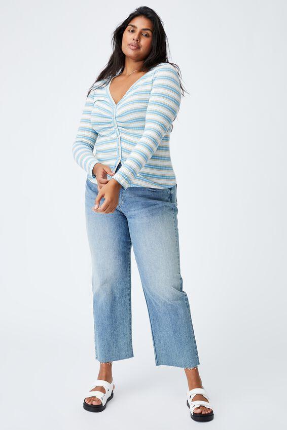 Curve Renee Long Sleeve Cardi, FRANKIE STRIPE ILLUSION BLUE