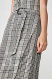Woven Melanie Wrap Midi Skirt, NYLA CHECK CREAM
