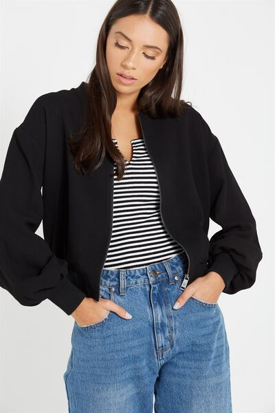 Candice Blouson Sleeve Bomber Jacket, BLACK
