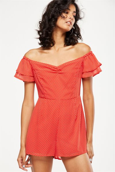 Woven Uma Off The Shoulder Playsuit, KARLA SPOT FLAME SCARLETT