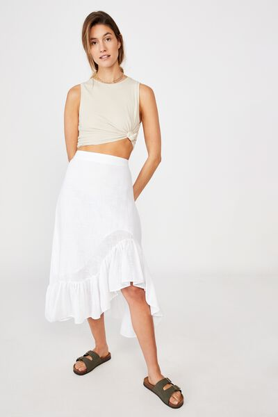 Atlas Ruffle Midi Skirt, WHITE