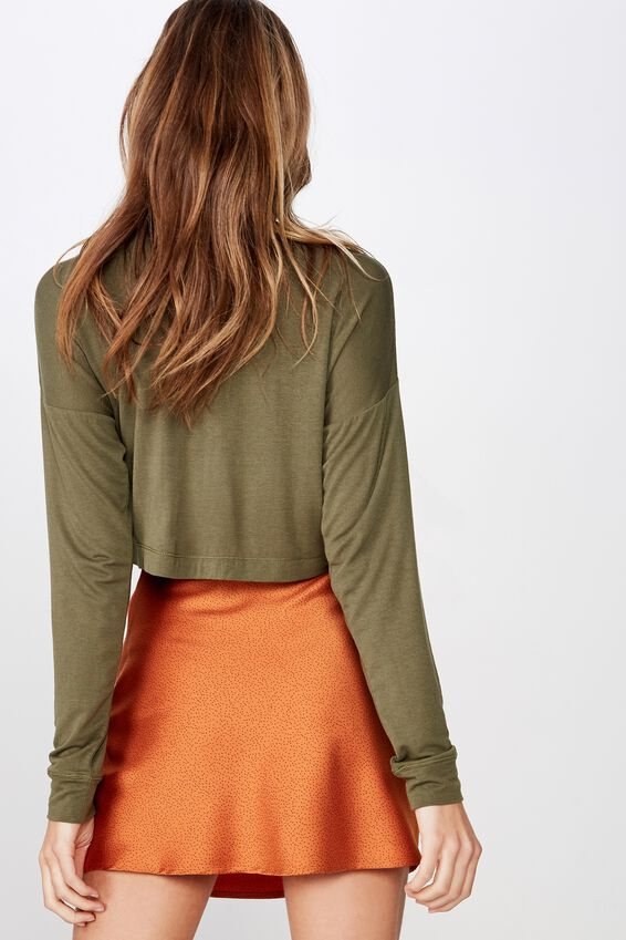 The Boxy Chop Mock Neck Long Sleeve Top, BURNT OLIVE