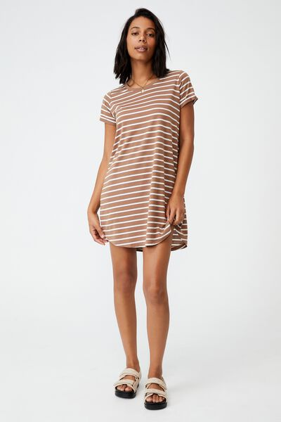Tina Tshirt Dress 2, TORI RESORT STRIPE COCOA BEAN
