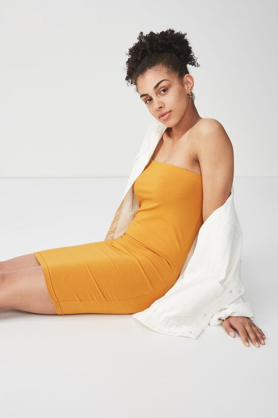Amy Bandeau Bodycon Mini Dress, INCA GOLD